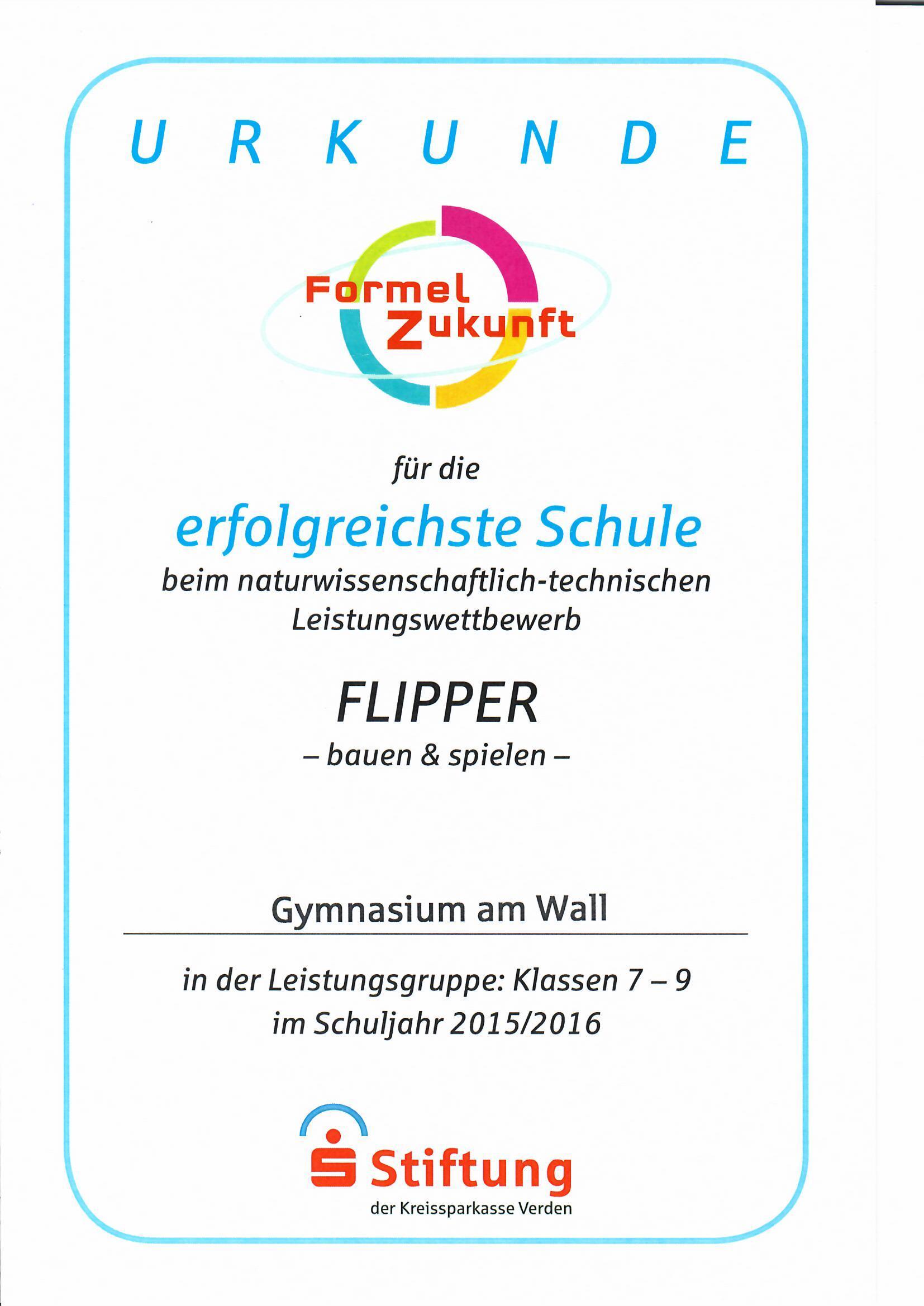 gymnasium am wall - Urkunde Formel Z